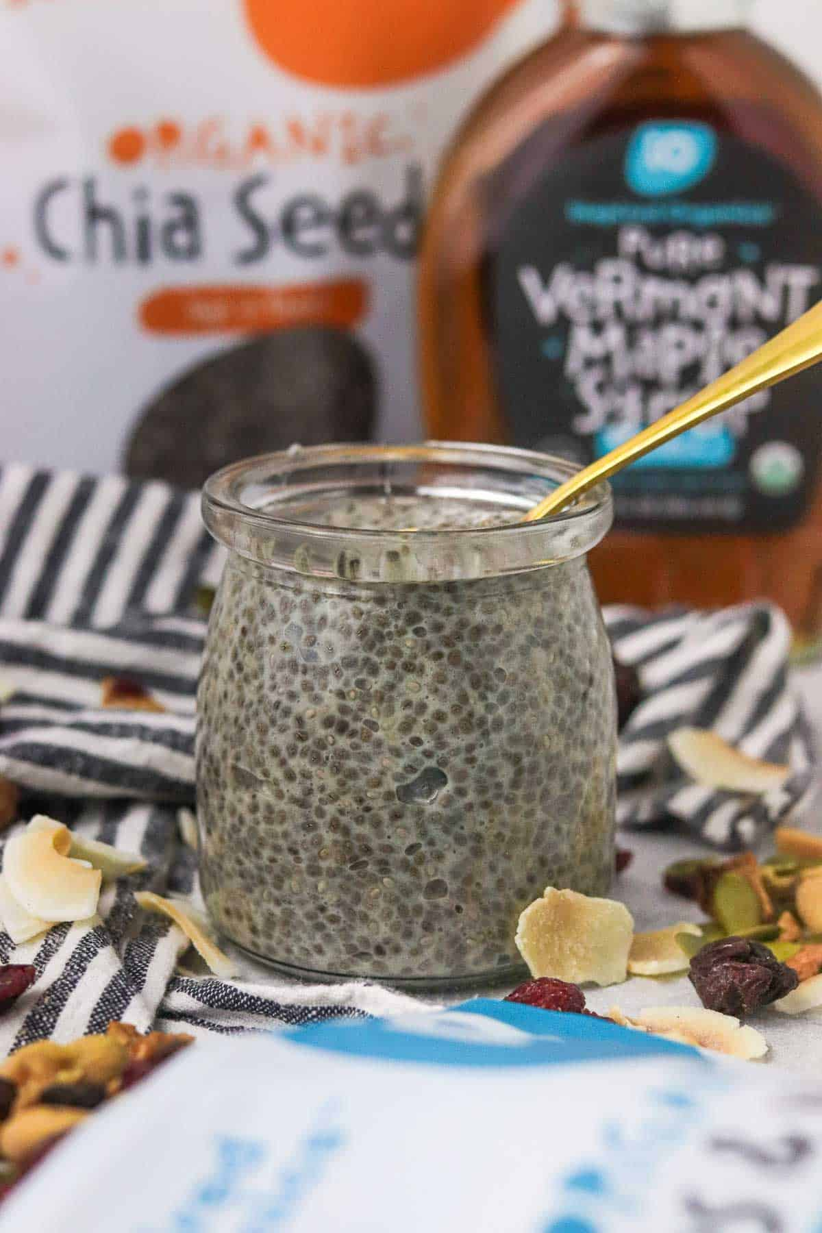 protein chia pudding with no toppings.