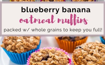 whole grain packed blueberry banana oatmeal muffins