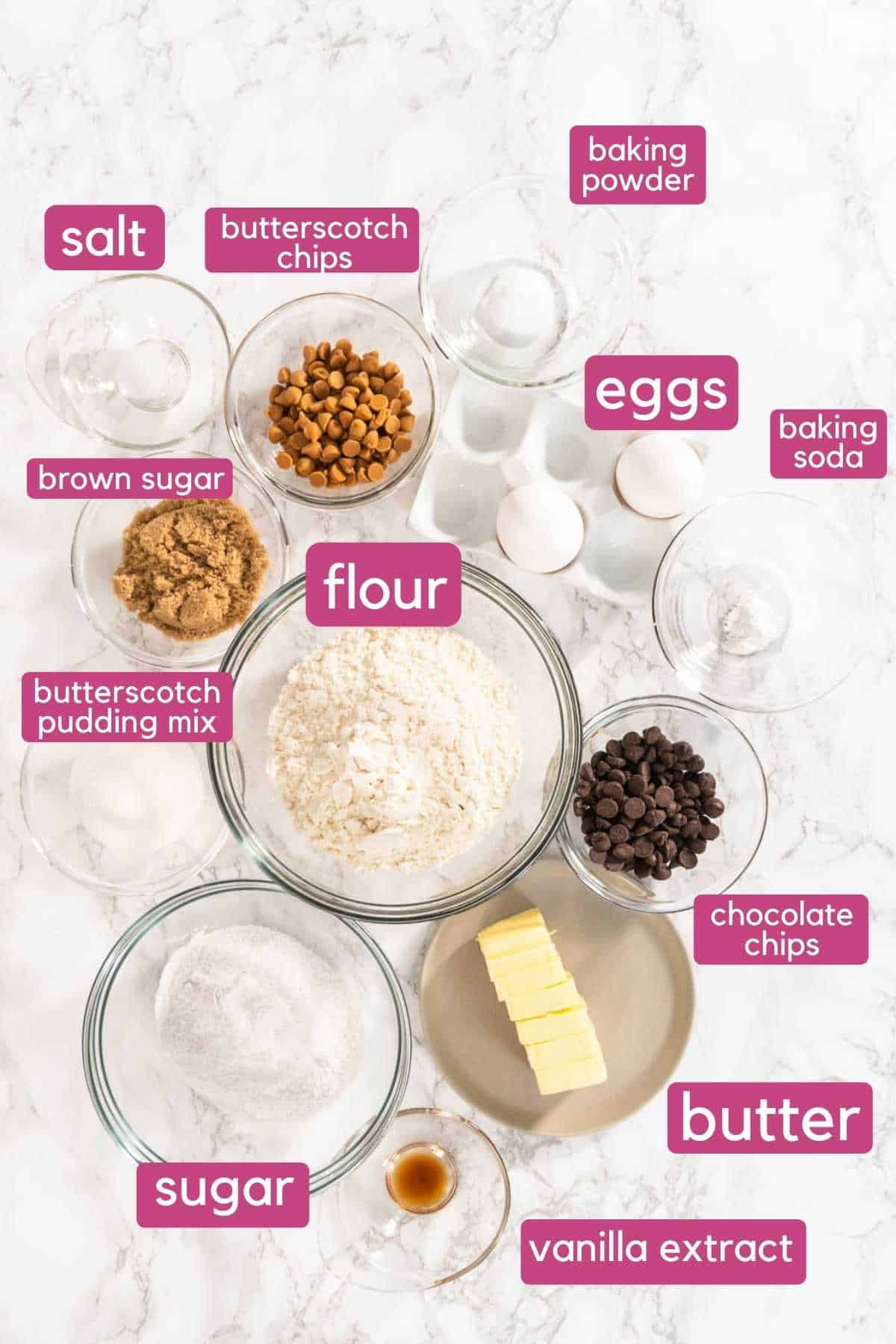 Chocolate chip butterscotch cookies ingredients.