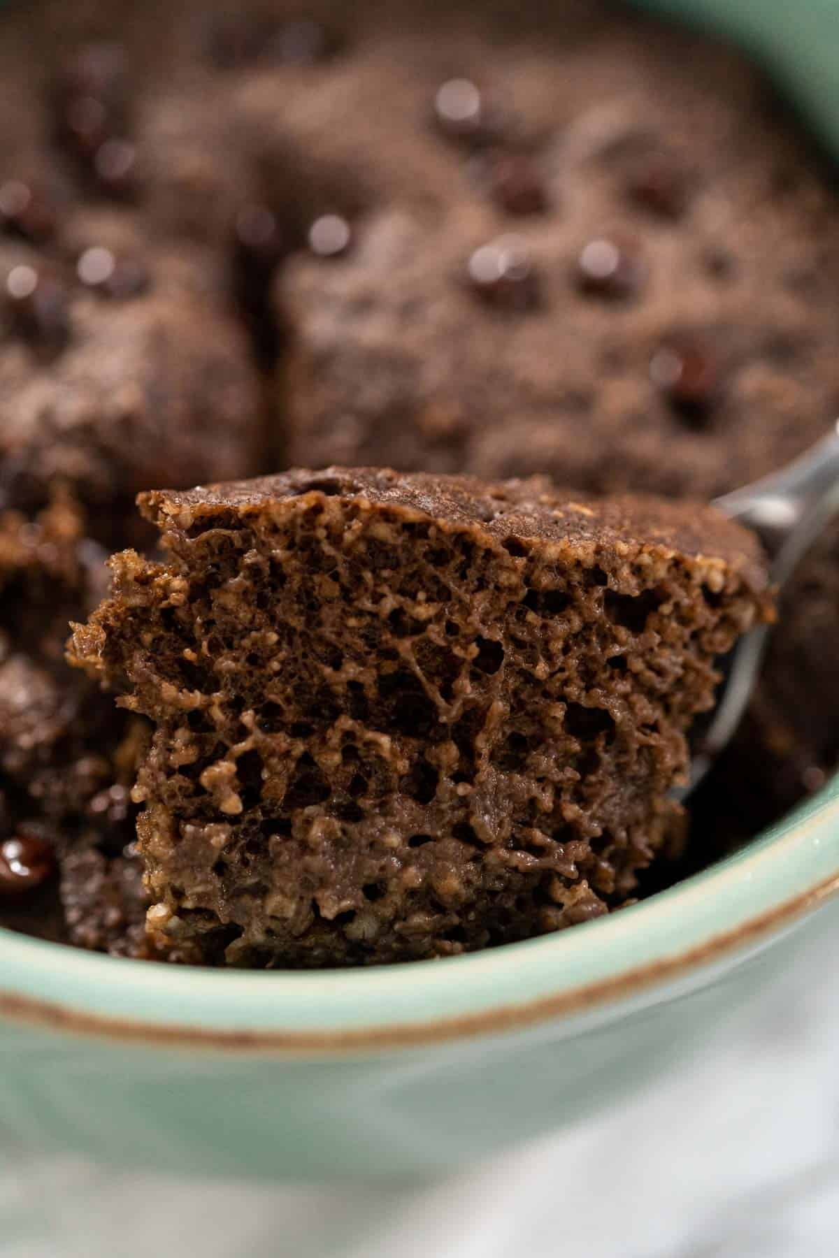 Close up of 5 Minute Chocolate Baked Oats.