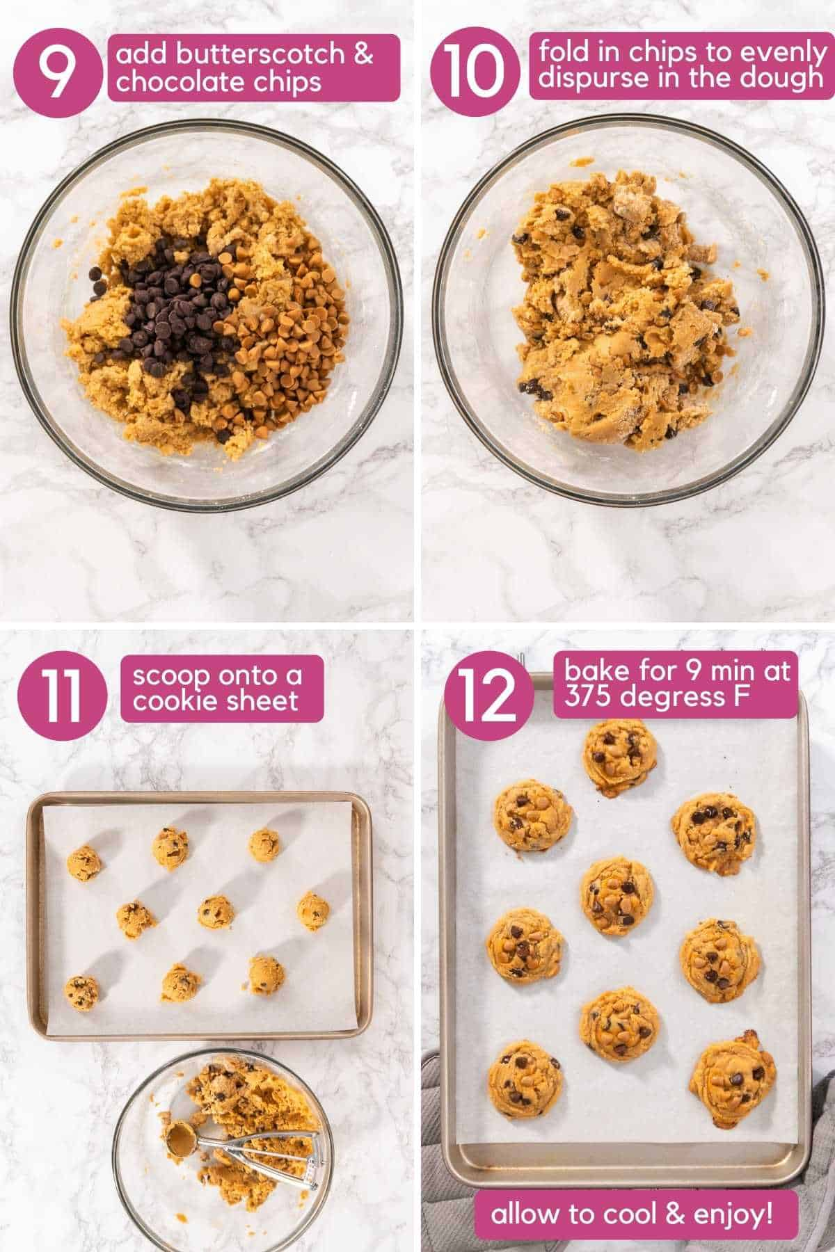 How to bake Chocolate chip butterscotch cookies.