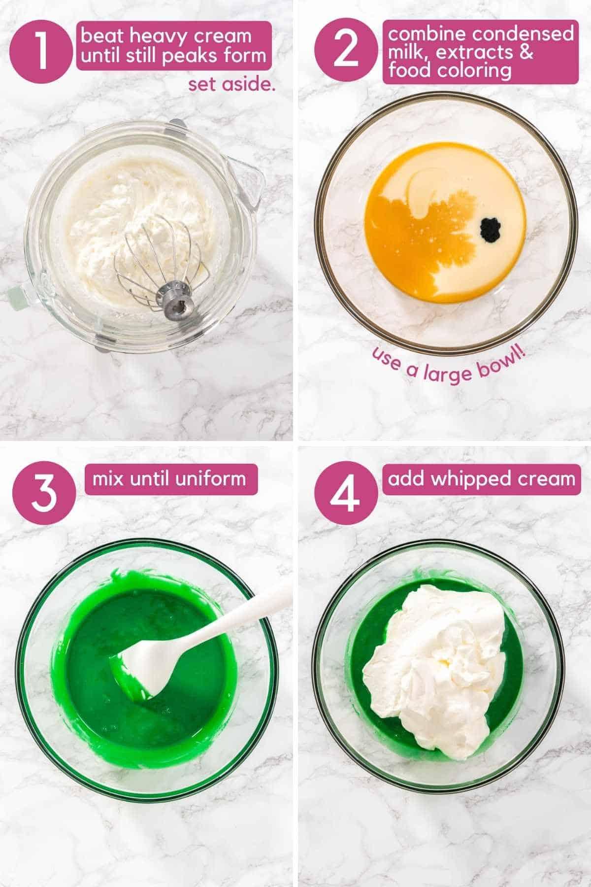 How to make the base for No Churn Grasshopper Ice Cream.