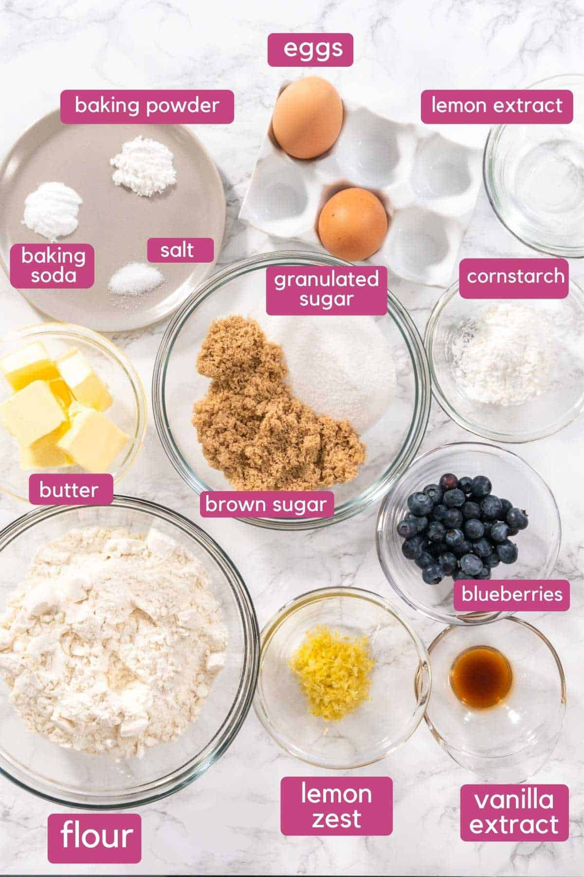 Ingredients to make blueberry lemon cookies.
