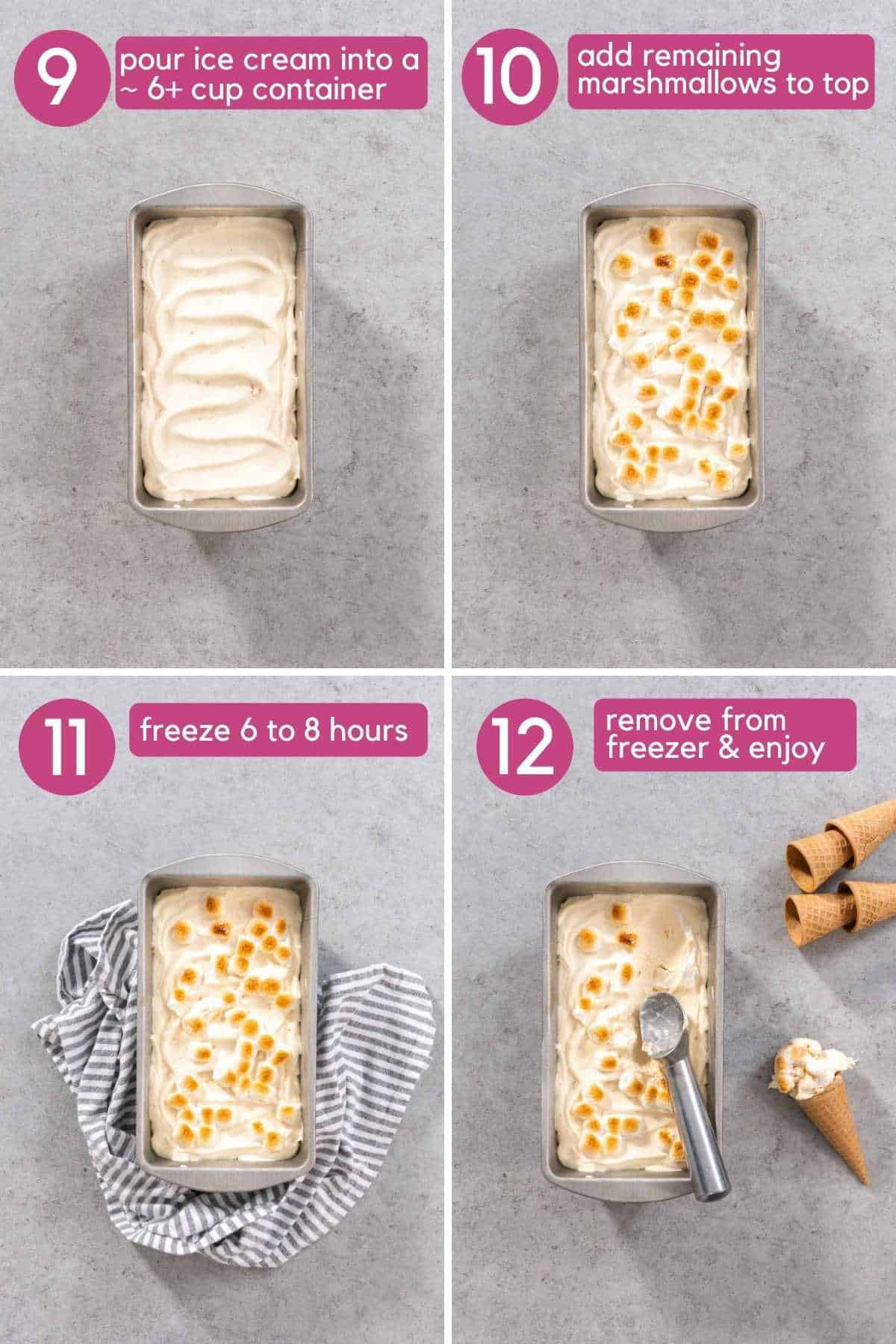 add additional marshmallows to ice cream and freeze.