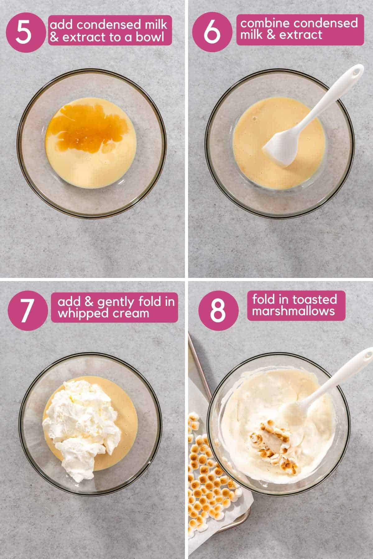 how to fold in whipped cream and toasted marshmallows.