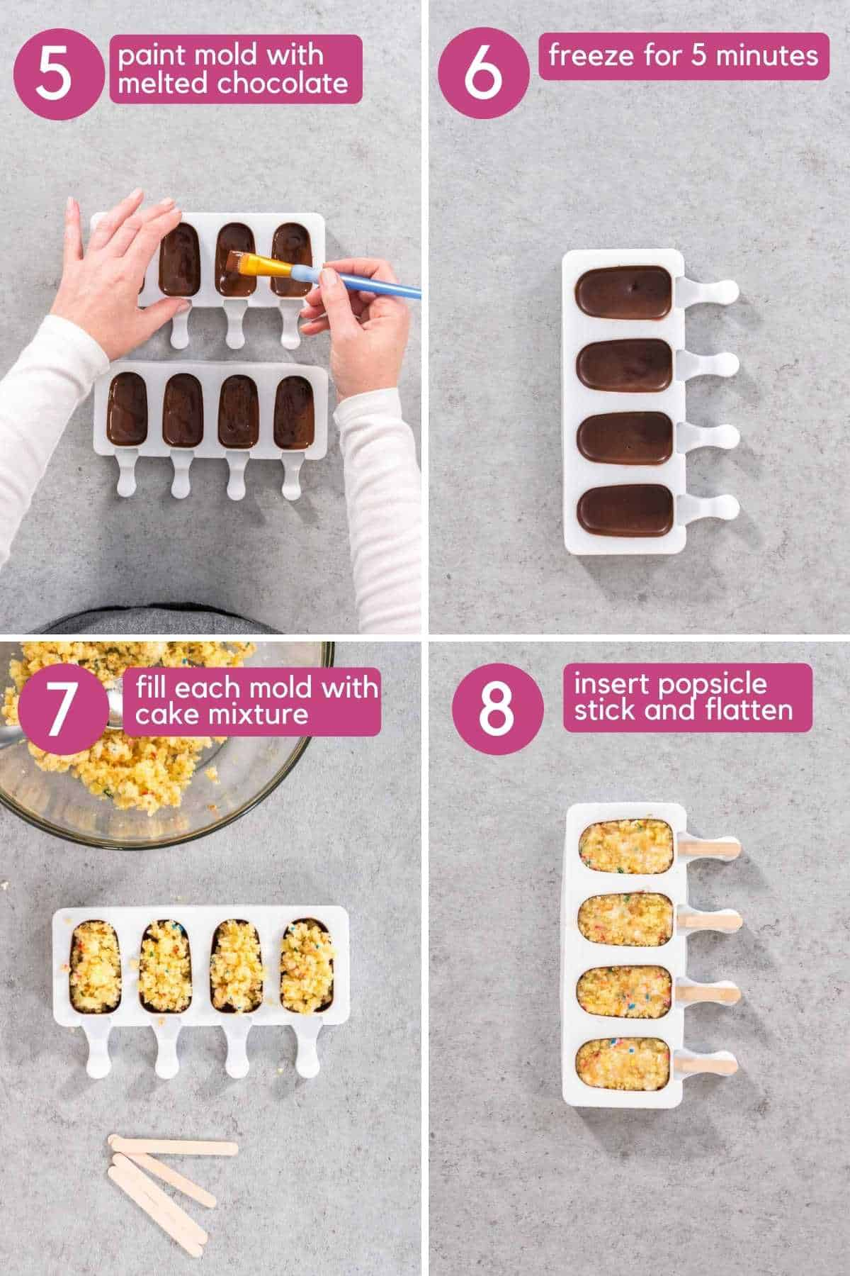 Paint chocolate onto mold and fill with cake mixture for cakesicles.