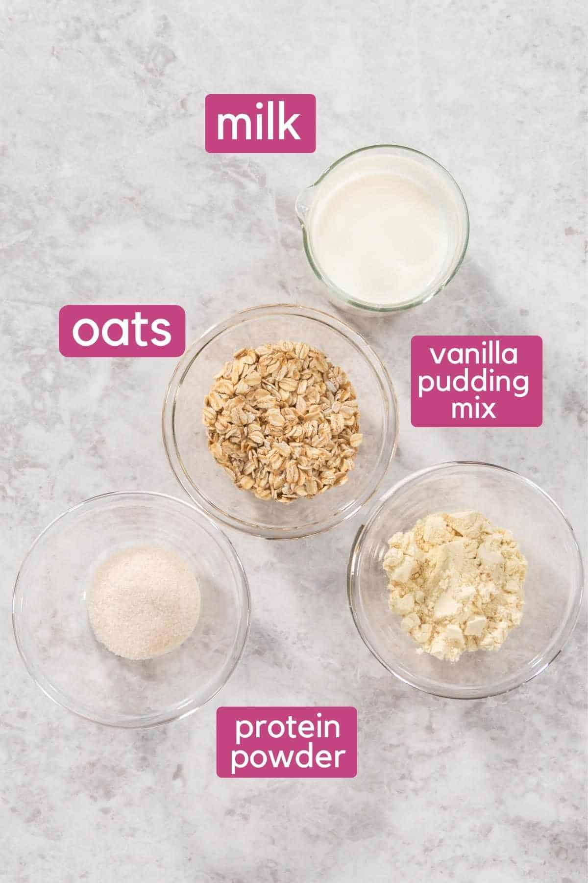 Protein Overnight Oats (PROATS) Ingredients.