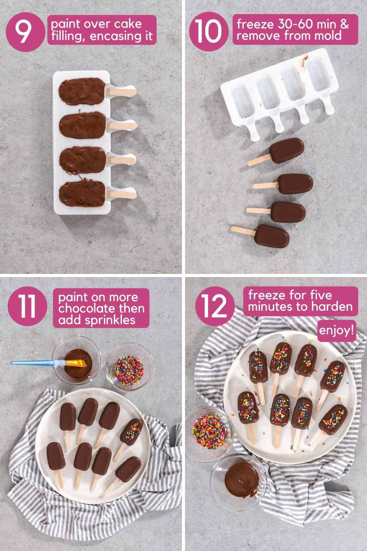 To finish making cakesicles add additional layer of chocolate to enase it, paint on additional chocolate and spread on sprinkles.