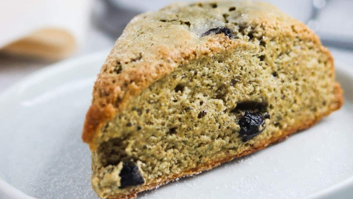 blueberry whole wheat greek yogurt scones on white plate as an example of a smart carb.