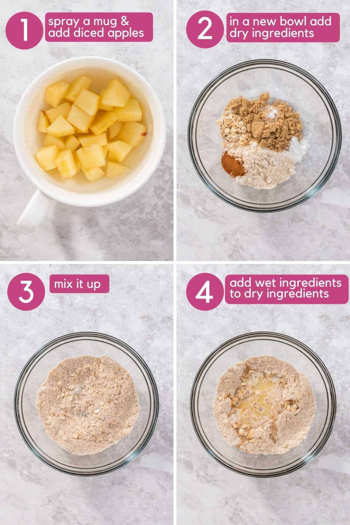 Add Oatmeal Apple Mug Cake ingredients to bowl and mix.