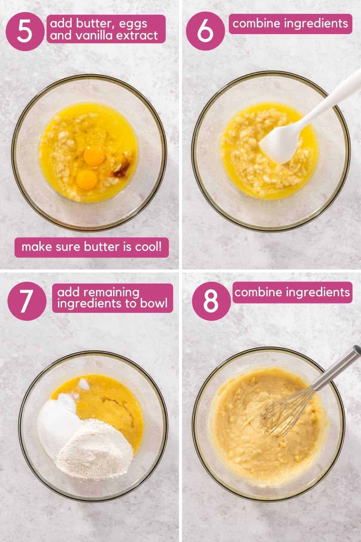 Add all ingredients then mix for one bowl banana bread.