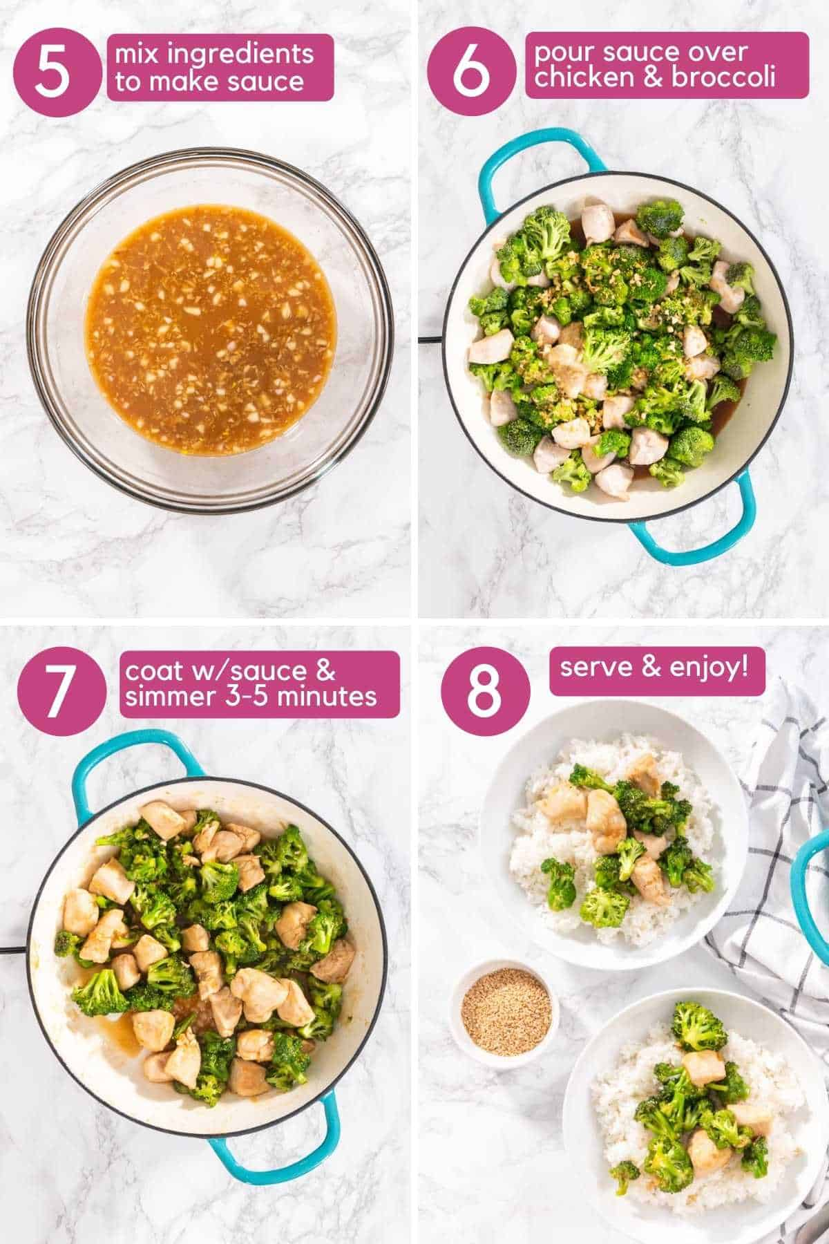 Add sauce to chicken and broccoli for Broccoli Chicken Stir Fry and serve over rice.