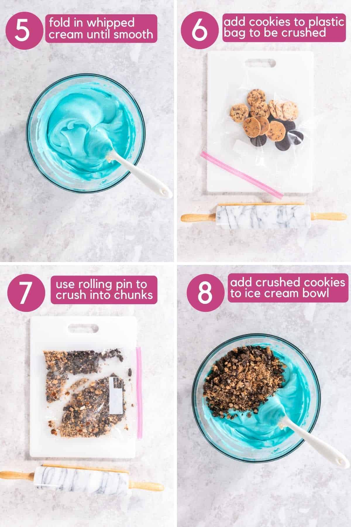 Fold whipped cream into condensed milk mixture, crush cookies and add to ice cream bowl for Cookie Monster Ice Cream.