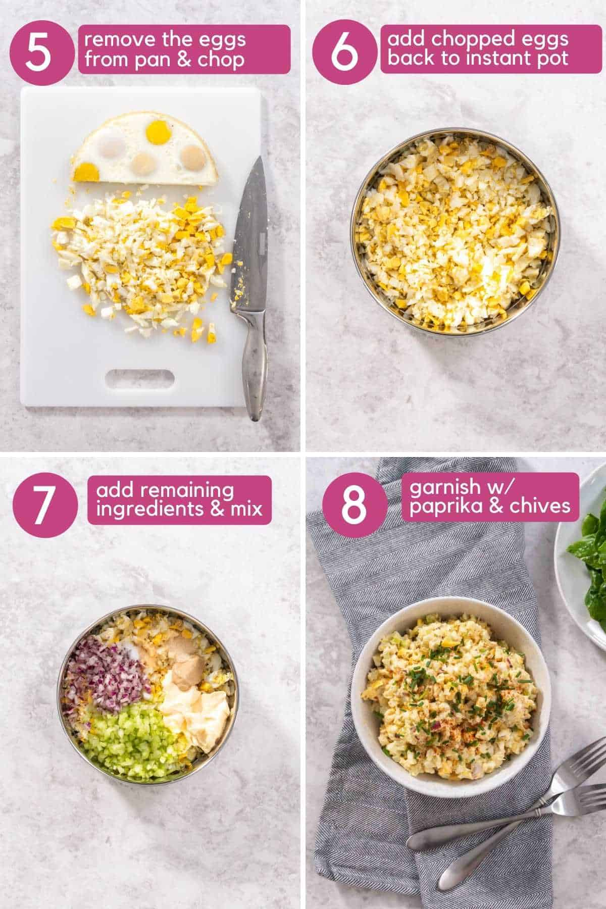 How to combine ingredients for Instant pot egg salad.