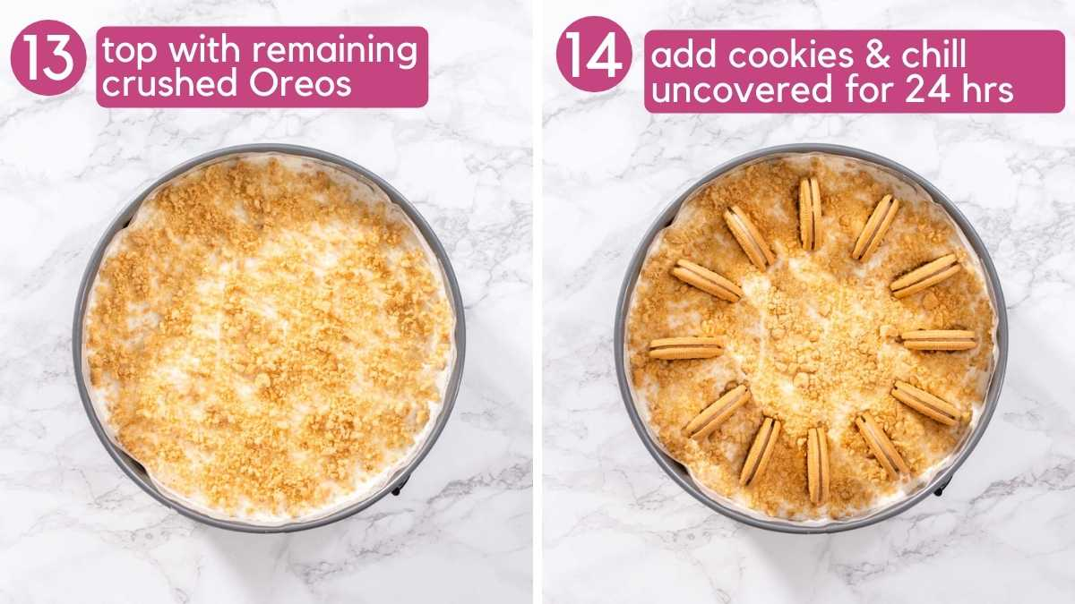 How to finish the Golden Oreo Cheesecake.