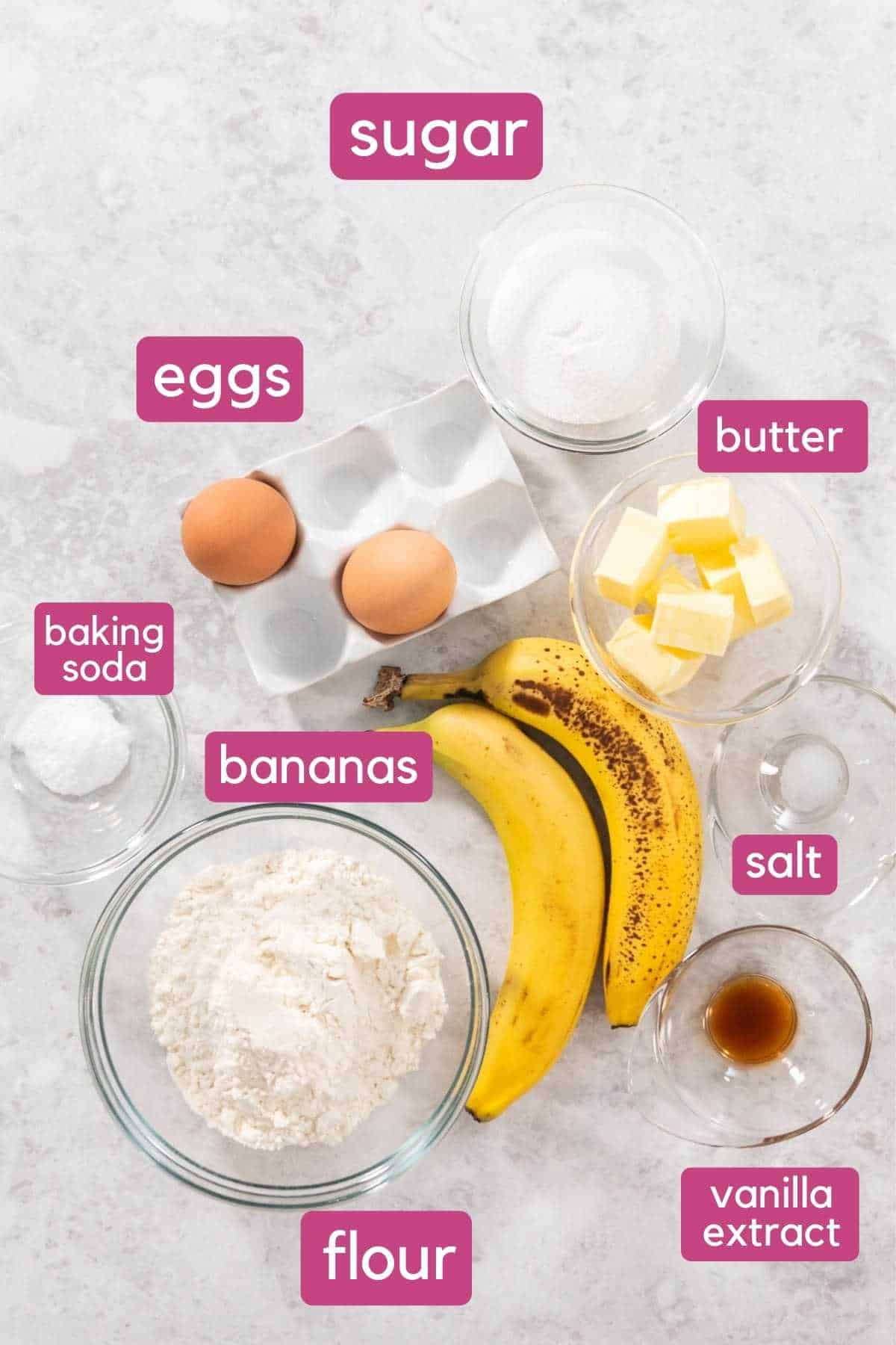 Ingredients for one bowl banana bread.