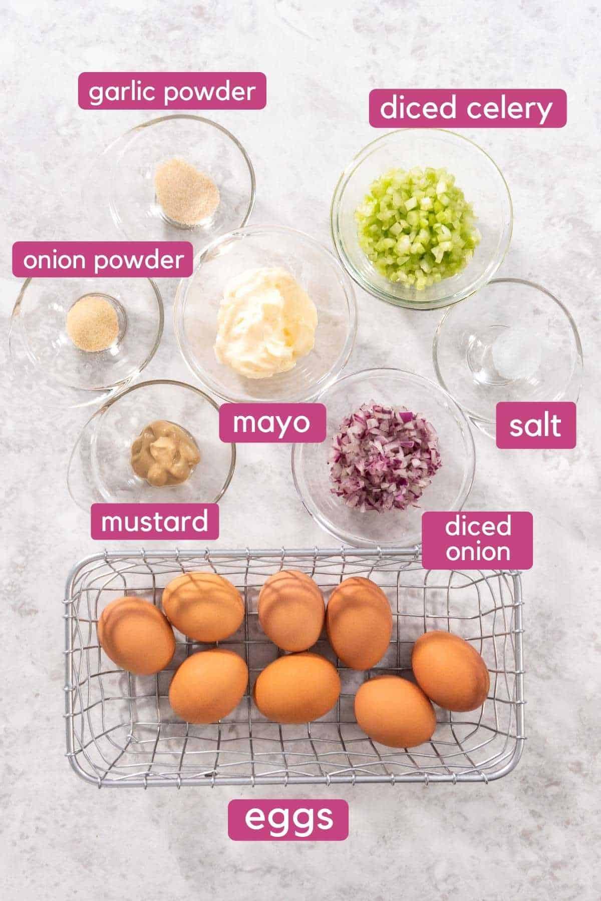 Instant pot egg salad ingredients.