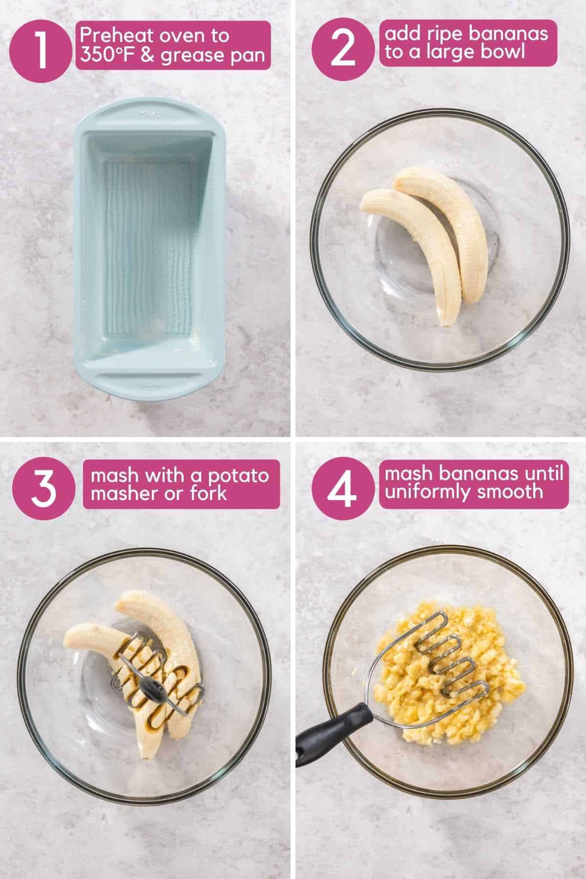 Mash bananas for one bowl banana bread.