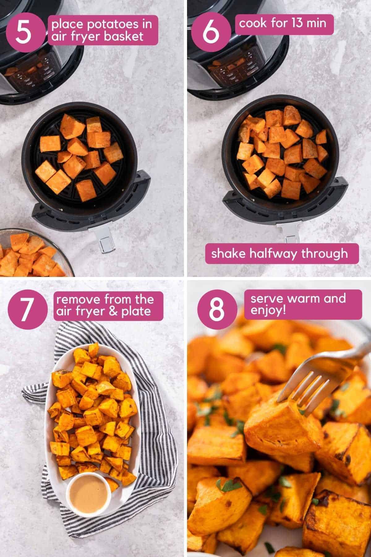 Seteps 5-8 of Brown Sugar Air Fryer Sweet Potato Cubes.