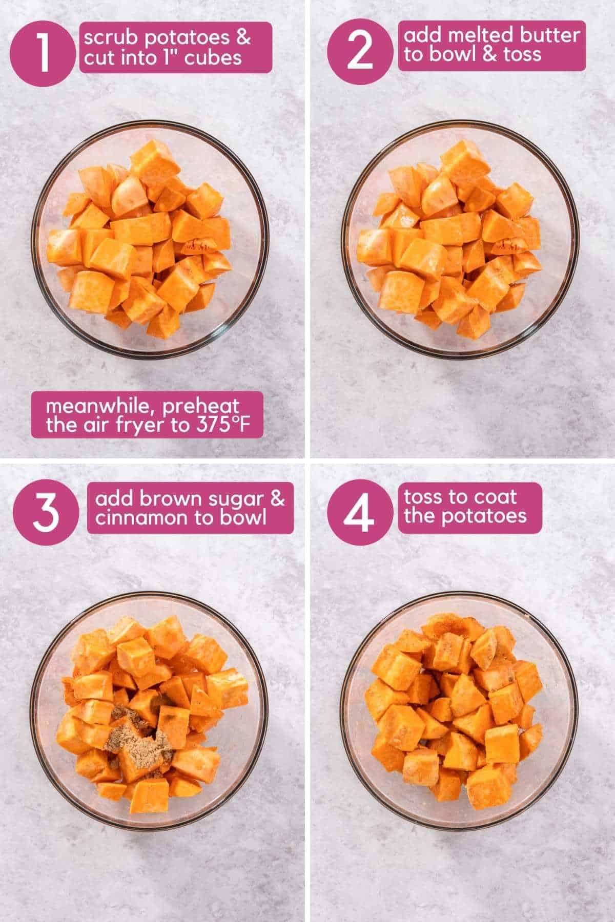 Steps 1-4 of Brown Sugar Air Fryer Sweet Potato Cubes.