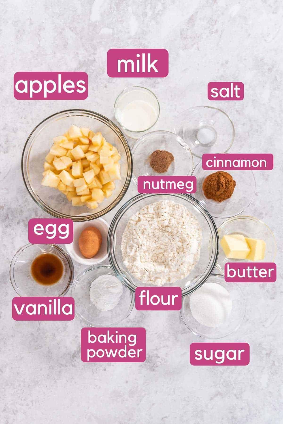 Air fryer apple fritters ingredients.